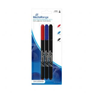 3 MediaRange CD DVD Permanent Marker Pen Set Blue Red Black MR701 0.7mm fine tip